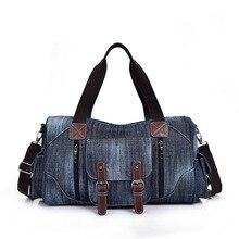 Большой емкости дорожная сумка из денима мужские и женские стиль мода повседневная одно плечо сумка ретро ковбой