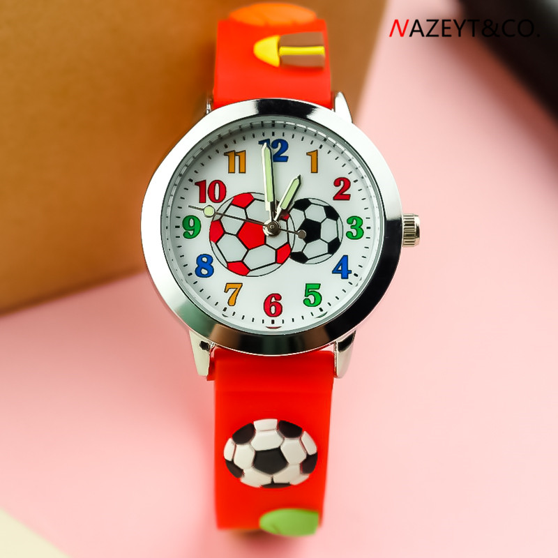 Free Shipping Children Red Black Color Football Face Quartz Watch Little Boys Girls Luminous Hands Cute 3D Silicone Gift Clock