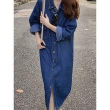 Корейские джинсы рубашка платье 2020 лето осень длинный рукав