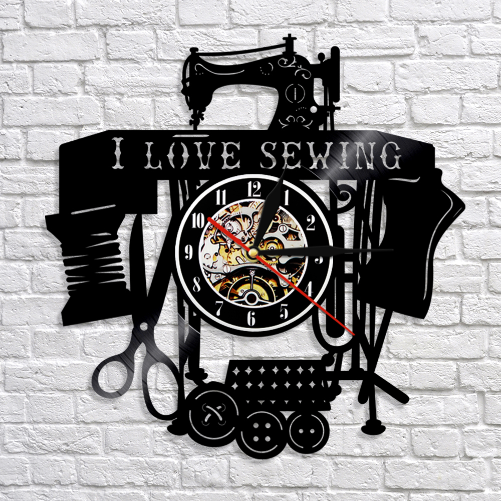 I Love Sewing Vintage Wall Clock Handmade Vinyl Record Wall Clock Wall Watches Sewing Machine Art Wall Decor For Room