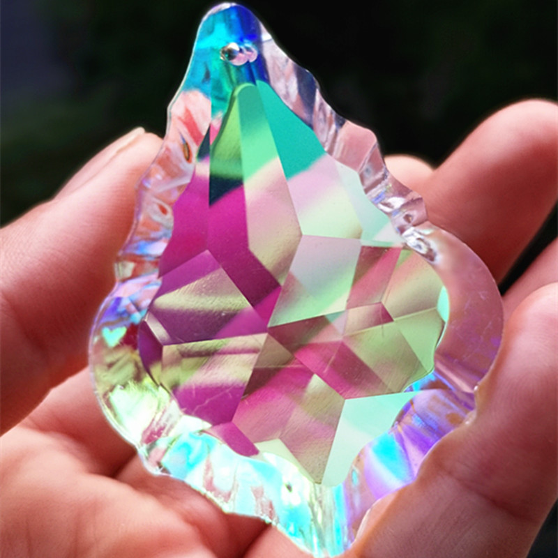 (Free Ring) Top Quality 63mm K9 Crystal Maple Leaf AB Color Chandelier Pendant/ Crystal Lighting Part / Crystal Curtain Drops