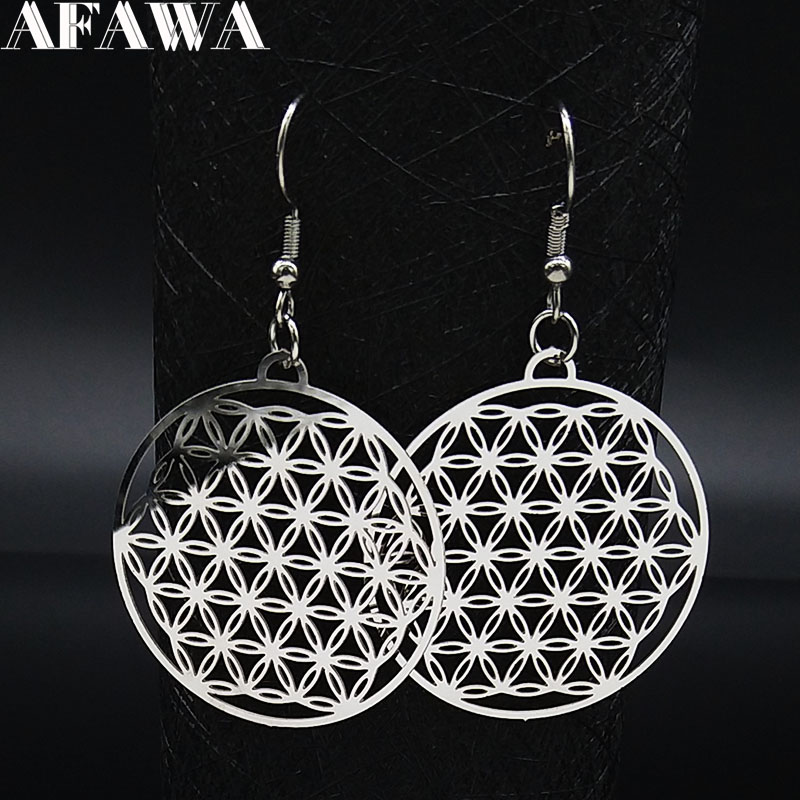 Flower of Life Stainless Steel Dangle Earrings Women Silver Color Earring Jewelry joyas de acero inoxidable para mujer E1558S02