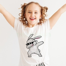 flower rabbit Print Girl's clothes Cotton Casual Children's clothes For Lady Girl Top Tee Hipster Drop Ship Camisetas T-shirt colorful dot rabbit print tee