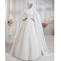 Muslim Wedding Dresses 2019 With Hijab A line Long Sleeves Applique Chiffon Floor Length Lace Floor Arabic gelinlik in Dubia