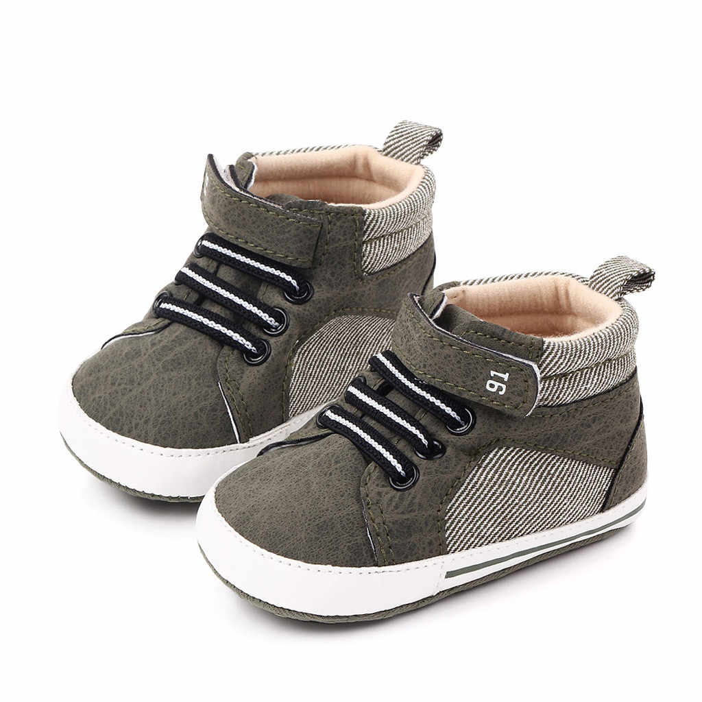 Baby Boy Girl Shoes PU Casual Sports New Born Baby Shoes 0-15 Months First Walkers Print Anti-Slip Lace-up Shoe Sneaker Soft