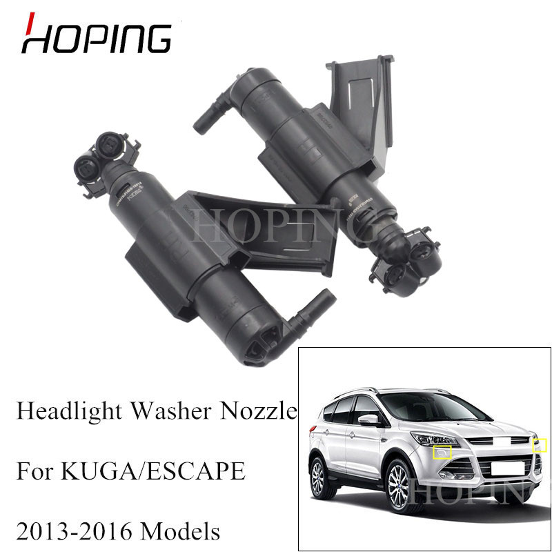 Hoping Left Right Headlight Headlamp Washer Nozzle For Ford KUGA 2013 2014 2015 2016 Head Light Cleaning Water Spray Jet image