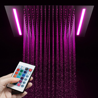 Luxury Multi Color Change Led Rainfall Showerhead Recessed Ceiling Mounted Shower Head 16 Colors Embedded Top Over Heads 304SUS