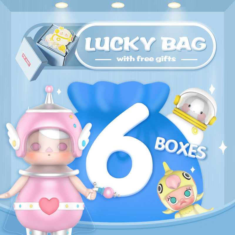 POPMART Surprise Lucky Bag With 6pcs And Gift Sticker Or Postcard Toys Figure Random Box Gift Surprise Free Shipping