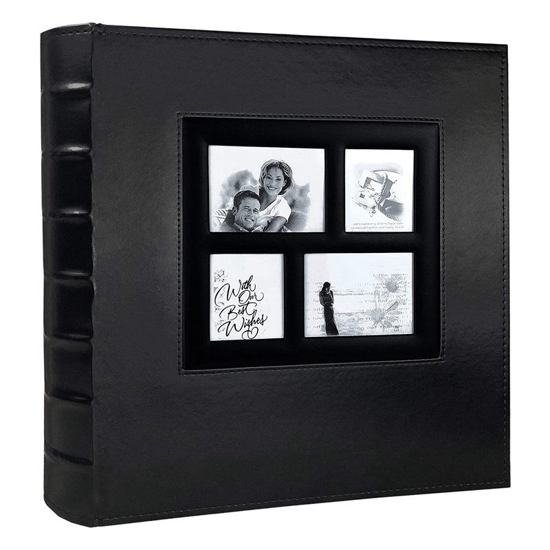 Photo Album Holds 4X6 400 Photos Black Pages Large Capacity Leather Cover Wedding Family Baby Photo Albums (Black) image