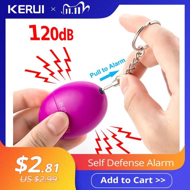 KERUI 자기 방위 경보 120dB 달걀 모양 소녀 여자 안전 보호 개인 안전 비명 시끄러운 키 체인 비상 경보