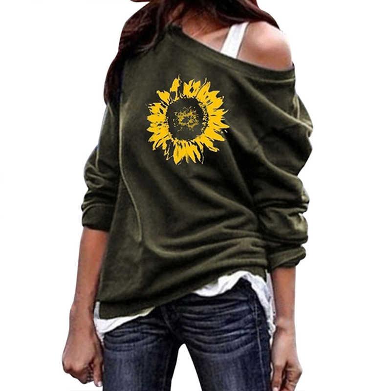Sweatshirt Vrouwen Hoodies Lange Mouwen Tops Plus Size 5XL Zonnebloem Print O-hals Trui Vrouwen Sweatshirts Shirt Streetwear 2019