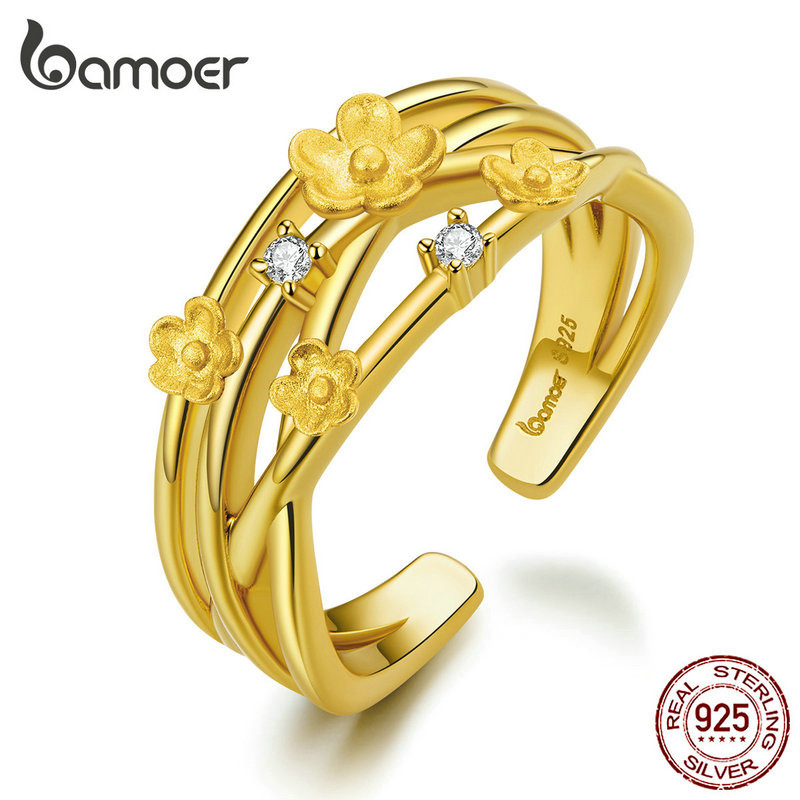 Bamoer Open Adjustable Finger Rings For Women 925 Sterling Silver Flower Branch Wedding Band Fine Jewelry Bijoux 2020 New BSR081