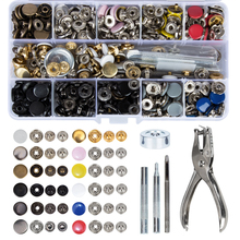 150 pcss Metal Snap On Buttons Set Press Studs with 4 Pcs Fixing Tools and 1 Punch Pliers for Leather, Wallet Clothes