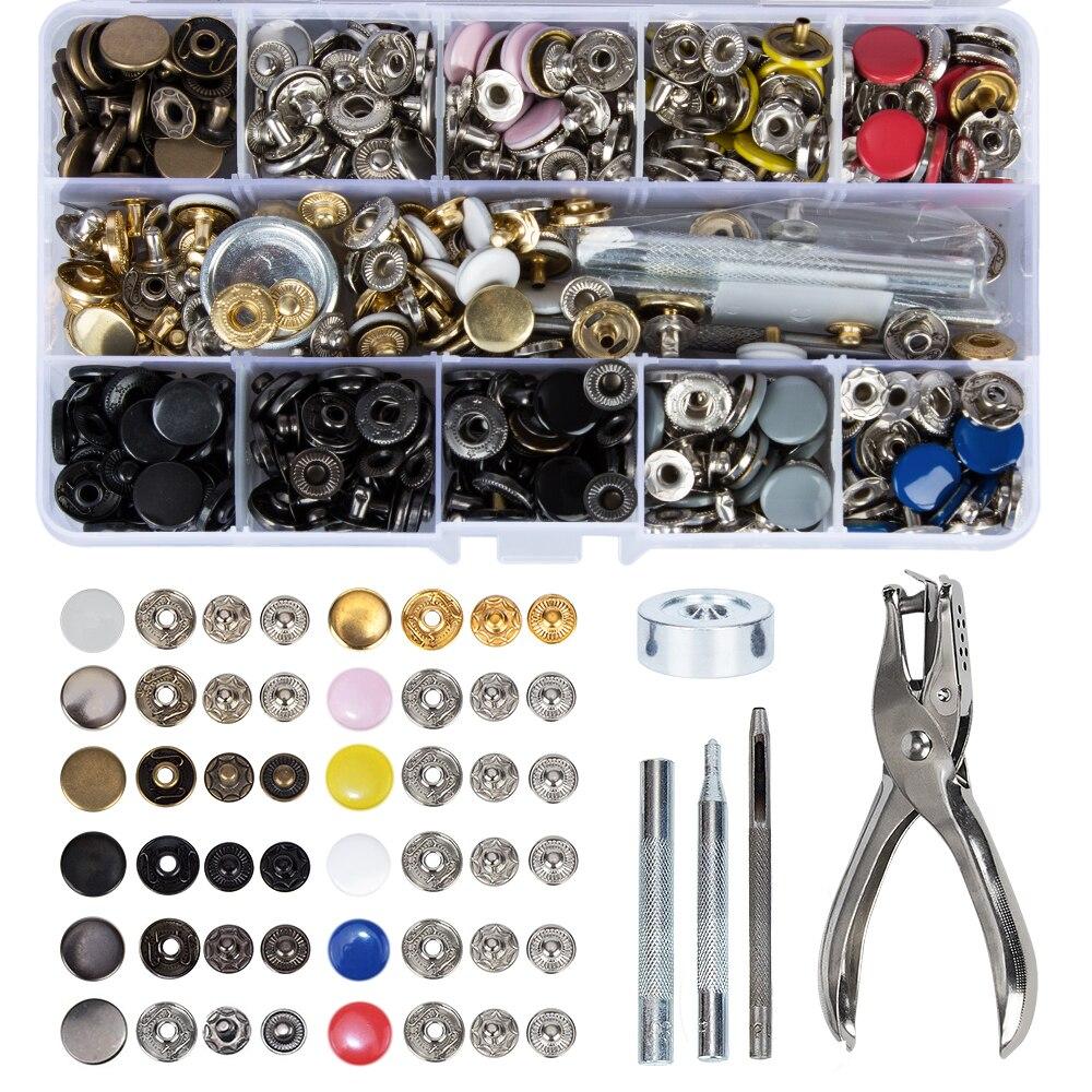 150 stücke s Metall Snap Auf Tasten Set Druckknöpfen mit 4 stücke Befestigung Werkzeuge und 1 stücke Punch Zange für Leder, brieftasche und Kleidung