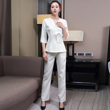 Beautician foot bath female autumn winter suit Chinese skin management beauty salon health salon technician work clothes