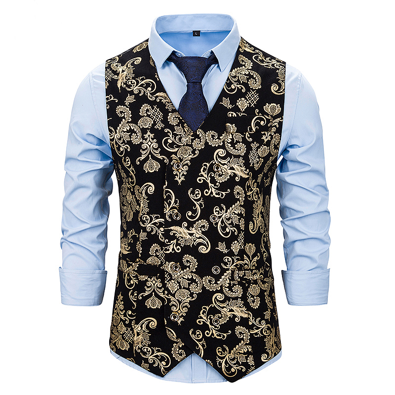 Men's Classic Paisley Jacquard Waistcoat Vest Handkerchief Party Wedding Tie Vest Suit Pocket Square Set