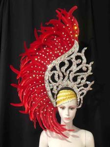 Image 4 - Coiffe de danse latine Samba, accessoires de mode, plumes, spectacles de danse délicates, accessoires pour vêtements