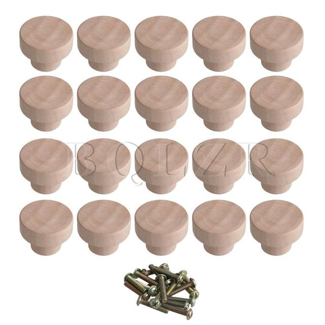 BQLZR 20x Home Accessory 35x25mm Wood Color Superba Wood Hardware Round  Pulls Knobs for Cabinet Drawer Shoebox Cupboard Cabinet