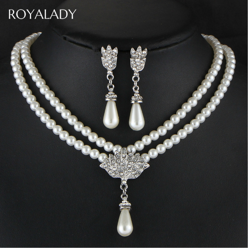 Imitation Pearl Necklace Earring Jewelry Sets Women Wedding Bridal Jewelry Elegant Party Gift Fashion Costume Accessories Gift