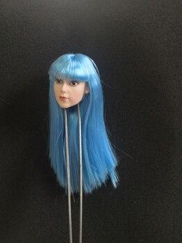 1/6 Cartoon Girl Women Head Sculpt Big Eyes Blue Hair for 12''Pale Figures Bodies Accessories