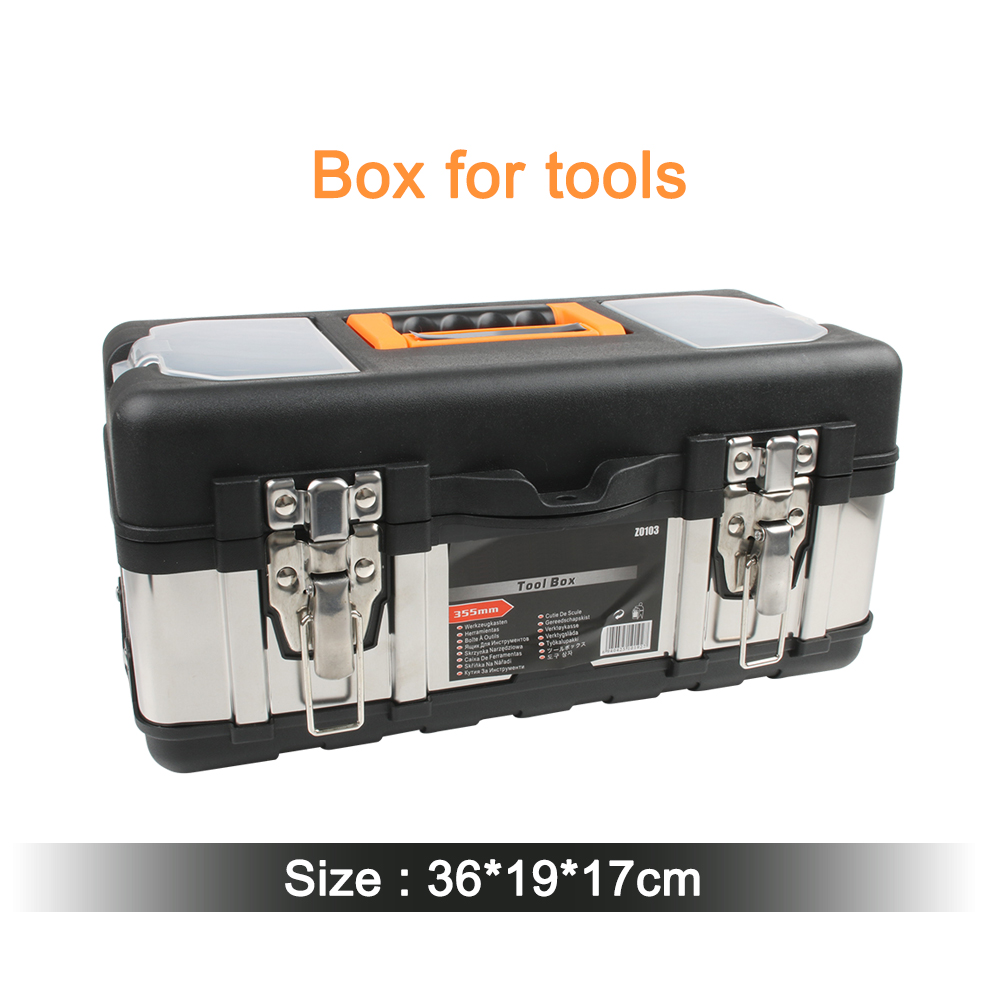 Portable Large Stainless Steel Toolbox Household Maintenance Electrician Plastic Tool Box Multifunctional Set Free Shipping 14