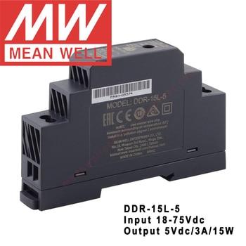 Convertidor a 5V/3a/15W CC a CC, entrada de 18-75Vdc, DDR-15L-5 Din Tipo de carril Original, fuente de alimentación DC-DC, Meanwell  1