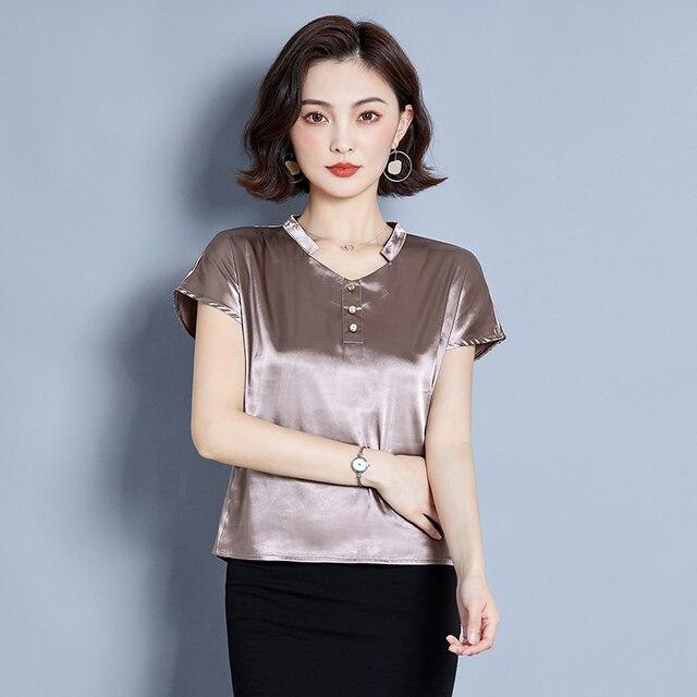Korean Silk Women Blouse Shirt Women Silk V Neck Blouse Tops Woman Solid Satin Blouses Top Plus Size Blusas Femininas Elegante 3