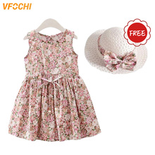 VFOCHI 2020 Girl Dresses with Hat Summer Girls Clothes Floral Print Baby Girls
