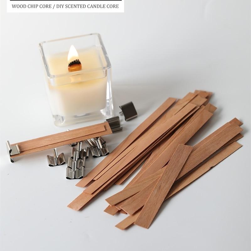 20 piezas de madera mecha para velas con Sustentador Tab DIY fabricación de velas suministros de Parffin cera Wick de la familia XJ27|Pabilos|   -