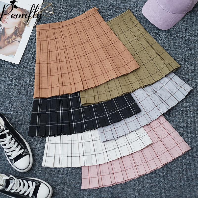 PEONFLY Sweet Women Pleated Skirt Fashion Plaid A-Line Mini High Waist Chic Skirt Kawaii Summer Casual Ladies Plaid Skirt