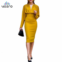 VOZRO Suit-dress Sexy Self-cultivation Package Buttocks Evening Winter Maxi Party Dress Women Long Sleeve Vestido Dresses Befree