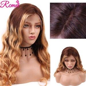 Image 5 - 13x4 светлые волнистые прозрачные #4/27 Омбре кружевные передние человеческие волосы парики предварительно выщипанные с ребенком волосы бразильские 150% Remy волосы парик