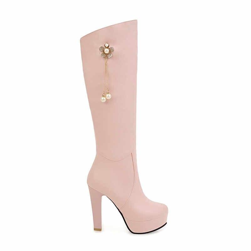Meotina kış diz yüksek çizmeler kadın çizmeler inci platformu blok topuk uzun çizmeler seksi süper yüksek topuk ayakkabı bayan büyük boyutu 34-43