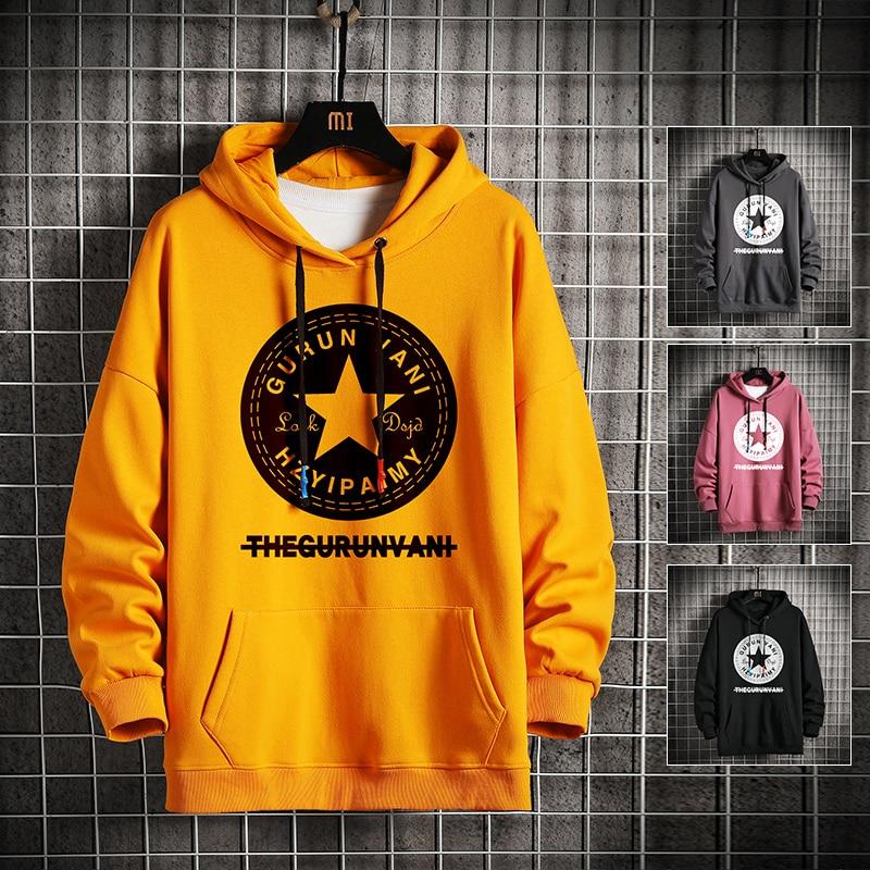 KKSKY baskı yıldız kapşonlu Hoodies tişörtü erkekler kış rahat sarı temel kazak adam Hip Hop gevşek Streetwear üstleri erkek 2020