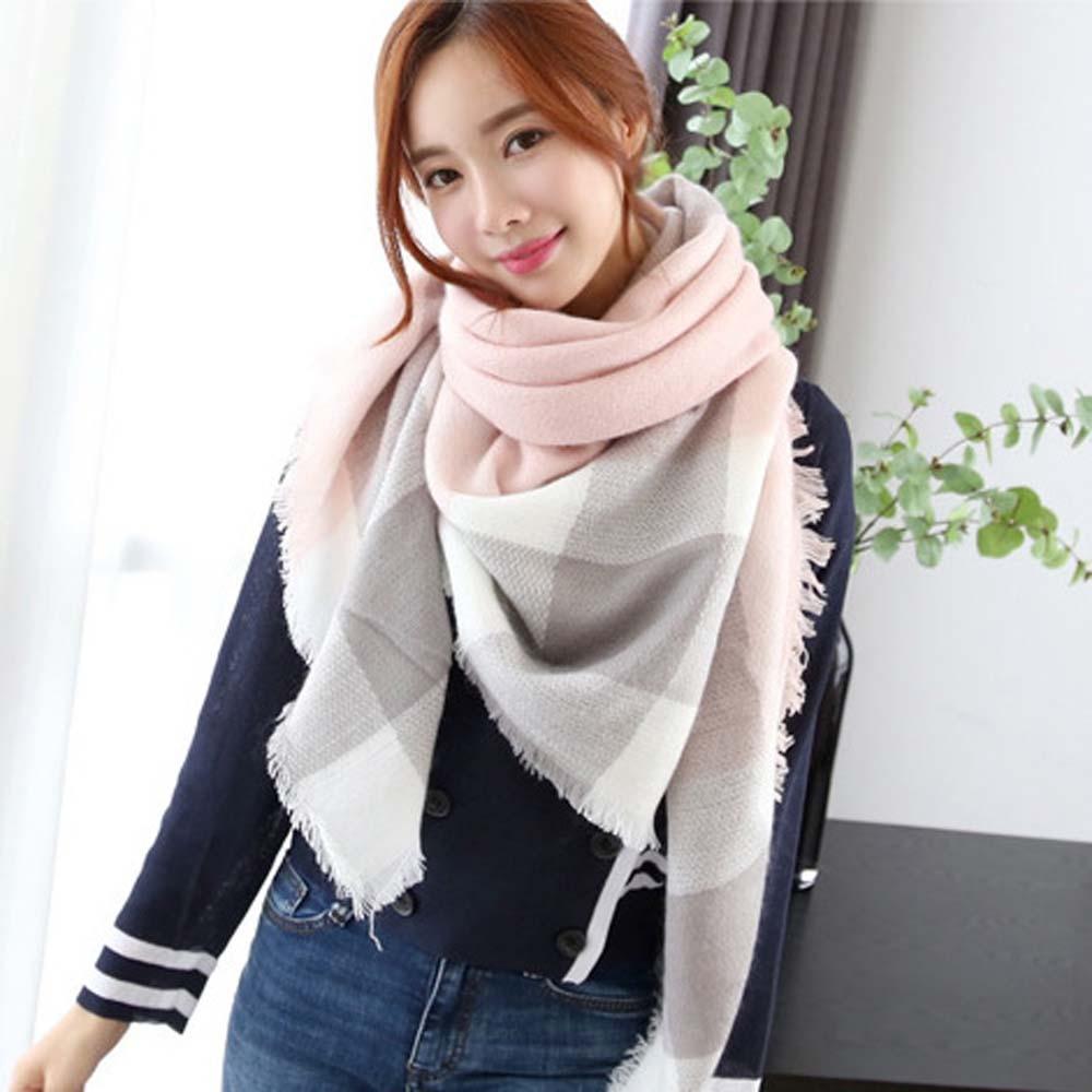 Knitted Spring Winter Women Scarf Plaid Warm Imitation Cashmere Scarves Shawls Brand Neck Bandana Lady Wraps Scarf Shawl