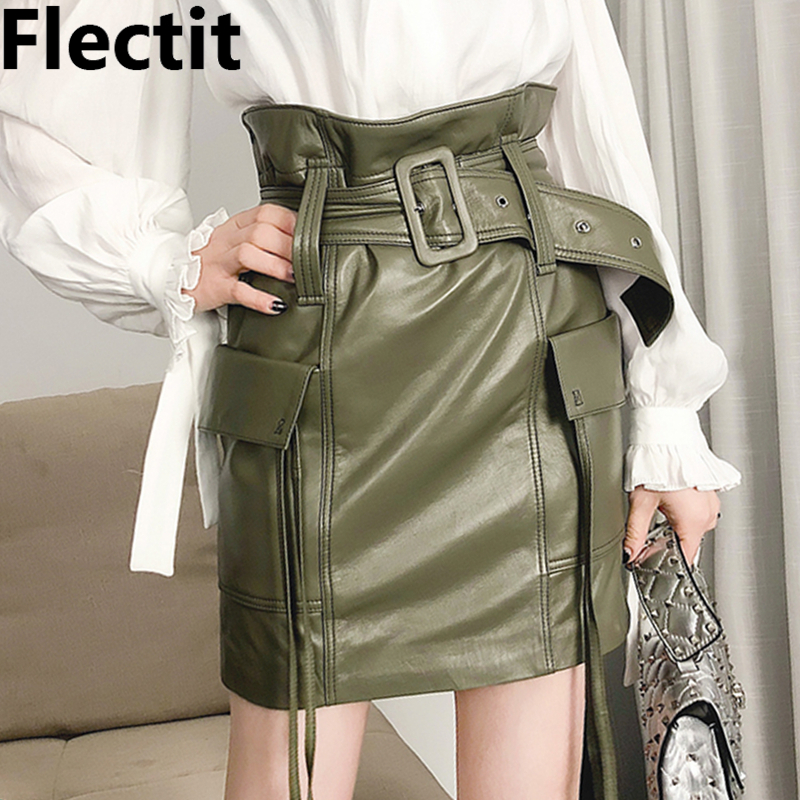 Flectit Women Faux Leather Paperbag Belted Mini Skirt Military Style Cargo Skirt With Belt Pocket High Waist Skirts *