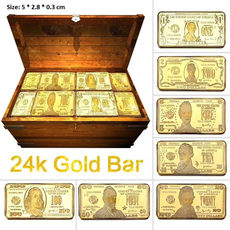 24K Gold/Серебрянные хромированные длинные бар/отделение для монет US Долларовые купюры дизайн металлическая сувенирная монета с эмалью, Золот...