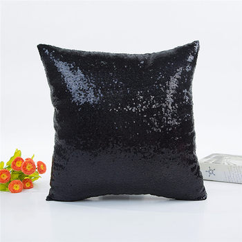Black Sequin Throw Pillow 2