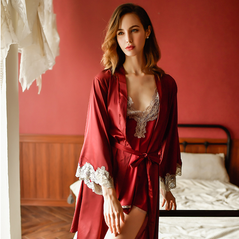 Image 4 - Yhotmeng sexy temptation female silk sexy lingerie female sling V neck adjustable hollow lace open back dress nightdress suit-in Robe & Gown Sets from Underwear & Sleepwears