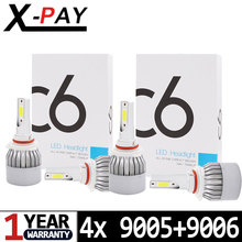 9006 HB4 + 9005 HB3 C6 LED COB Chip All-In-One Auto Headlight Bulbs 7600 LM 72 Watt Kit 6000K Bright White Light (Low/High Beam)