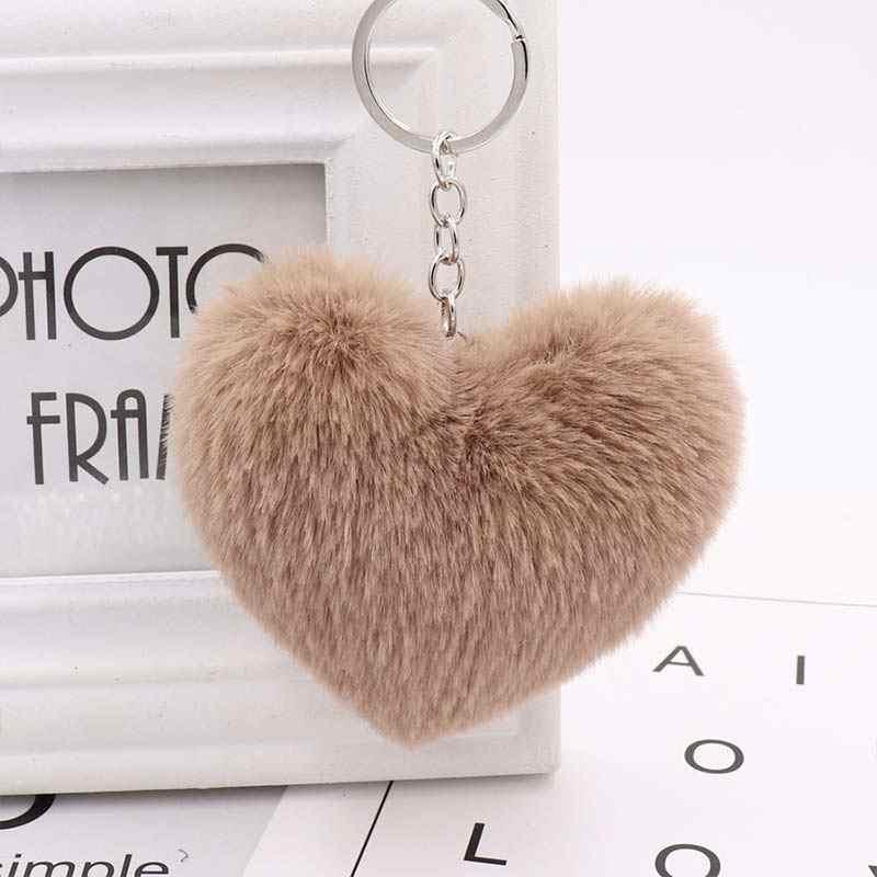 Hot 10 CENTÍMETROS Bonito Fluffy Pompons Coelho da Pele Do Falso das Mulheres Do Coração Chaveiros Chaveiro Saco Menina Pendurar Chave Do Carro acessórios Da Jóia do anel
