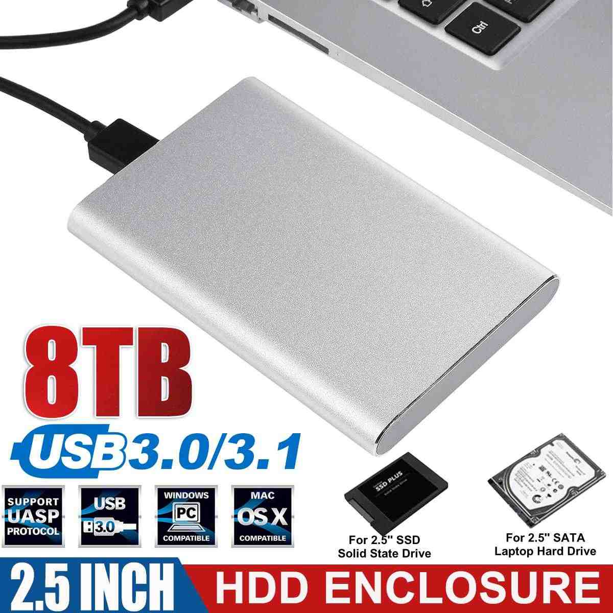 Profesional USB3.0/3.1 HDD Enclosure 2.5 Inch Serial Port SATA SSD Hard Drive Case Mendukung 8TB Memori Ponsel eksternal HDD Case