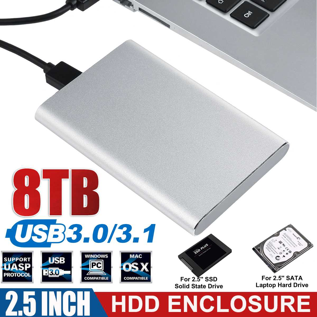Professional USB3.0/3.1 HDD Enclosure 2.5 Inch Serial Port SATA SSD Hard Drive Case Support 8TB Memory Mobile External HDD Case