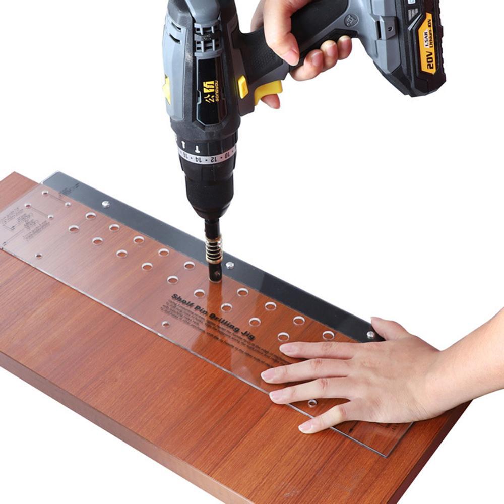 Shelf Pin Drilling Jig Furniture Tool Furniture Woodworking Hinge Drill  Mini Bit Mounting Cabinet Door Drilling Jig Tool