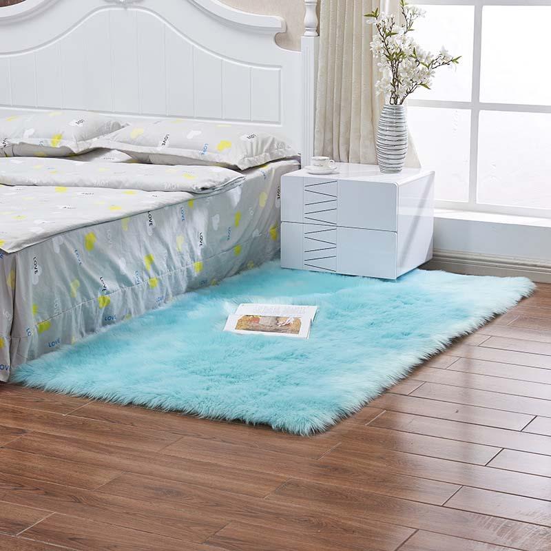 Очень мягкие прямоугольные коврики из искусственного меха овчины для спальни, напольный ворсистый шелковистый плюшевый ковер, белый ковер из искусственного меха, прикроватные коврики - Цвет: light blue