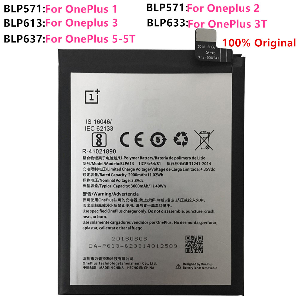 100% Original Replacement <font><b>Battery</b></font> For <font><b>Oneplus</b></font> one 1+ One plus For <font><b>OnePlus</b></font> 2 3 One Plus 3 3T 5 <font><b>5T</b></font> Quality Li-ion <font><b>Batteries</b></font> image