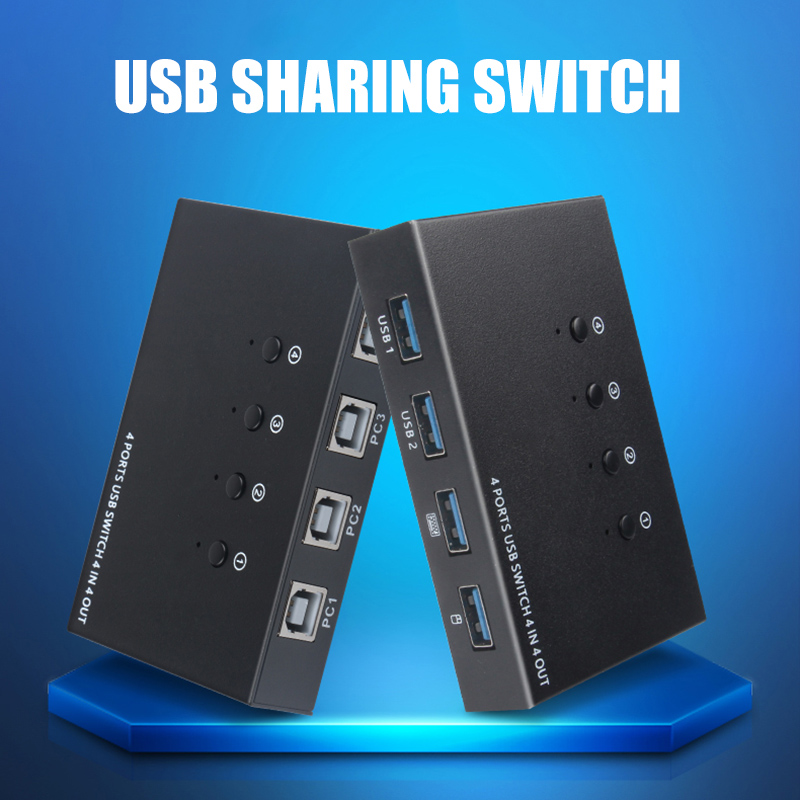 4 In 4 Out USB Switch KVM Switch Box 4 USB2.0 Switcher PC Sharing Splitter For Keyboard Mouse Printer Sharing SP99