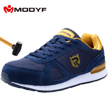 MODYF Mens Steel Toe Work Safety Shoes Breathable Lightweight Anti-sma