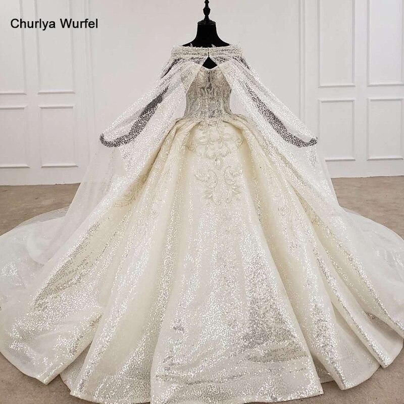 HTL1192 Sparkly Wedding Dresses Strapless Appliques Bead Ball Gown Bride Dress With Cape Shiny Glitter Vestido Casamento 2020