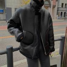 Зимняя мотоциклетная одежда из овечьей шерсти, Мужская Корейская версия красивой кожаной утепленной куртки черного/бежевого M-XL